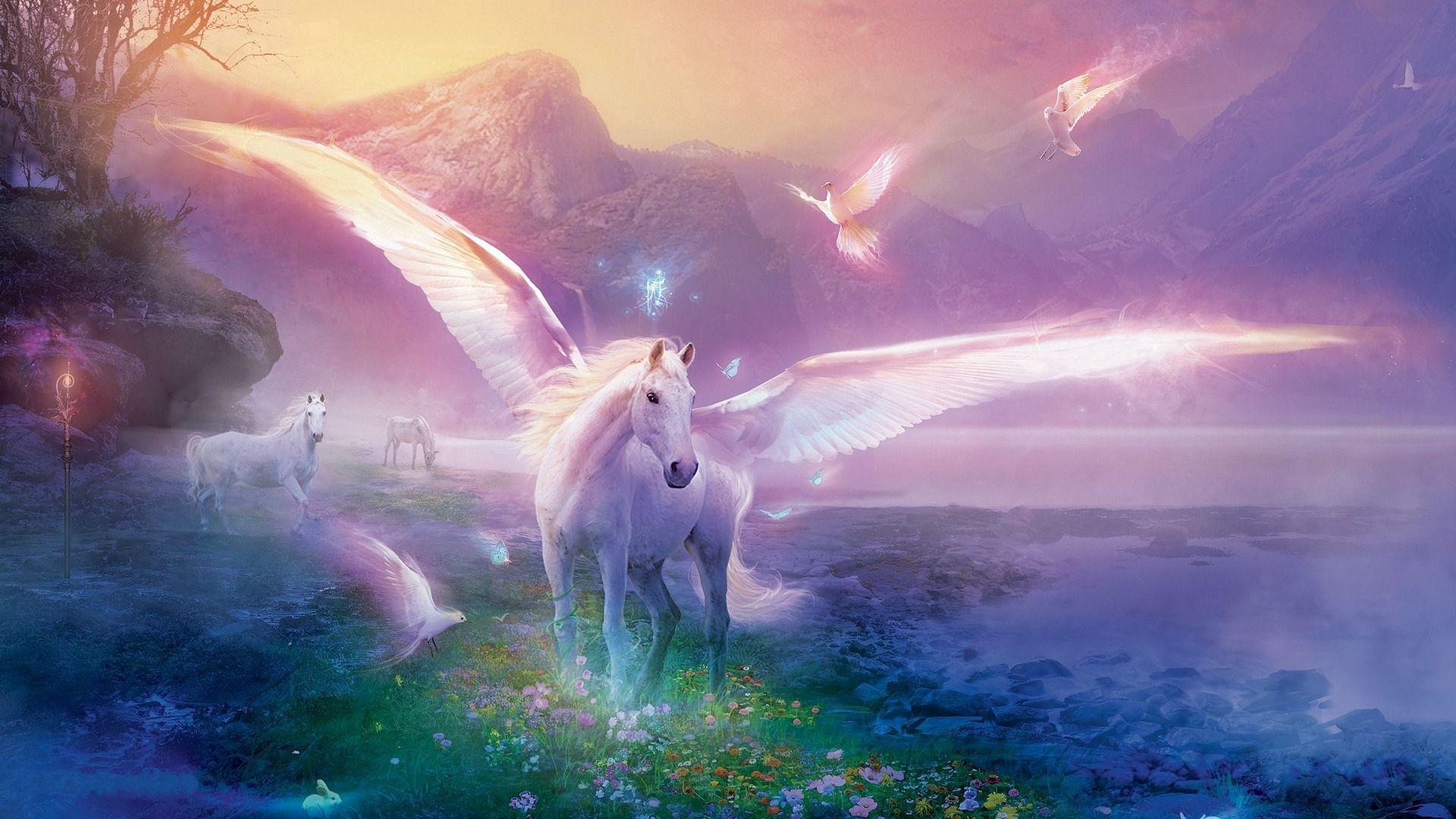 133123 скачать обои Цветы, Фэнтези, Пегас, Лошадь, Магия - заставки и картинки бесплатно