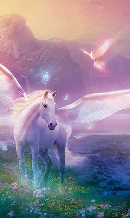 133123 скачать обои Фэнтези, Пегас, Лошадь, Магия, Цветы - заставки и картинки бесплатно