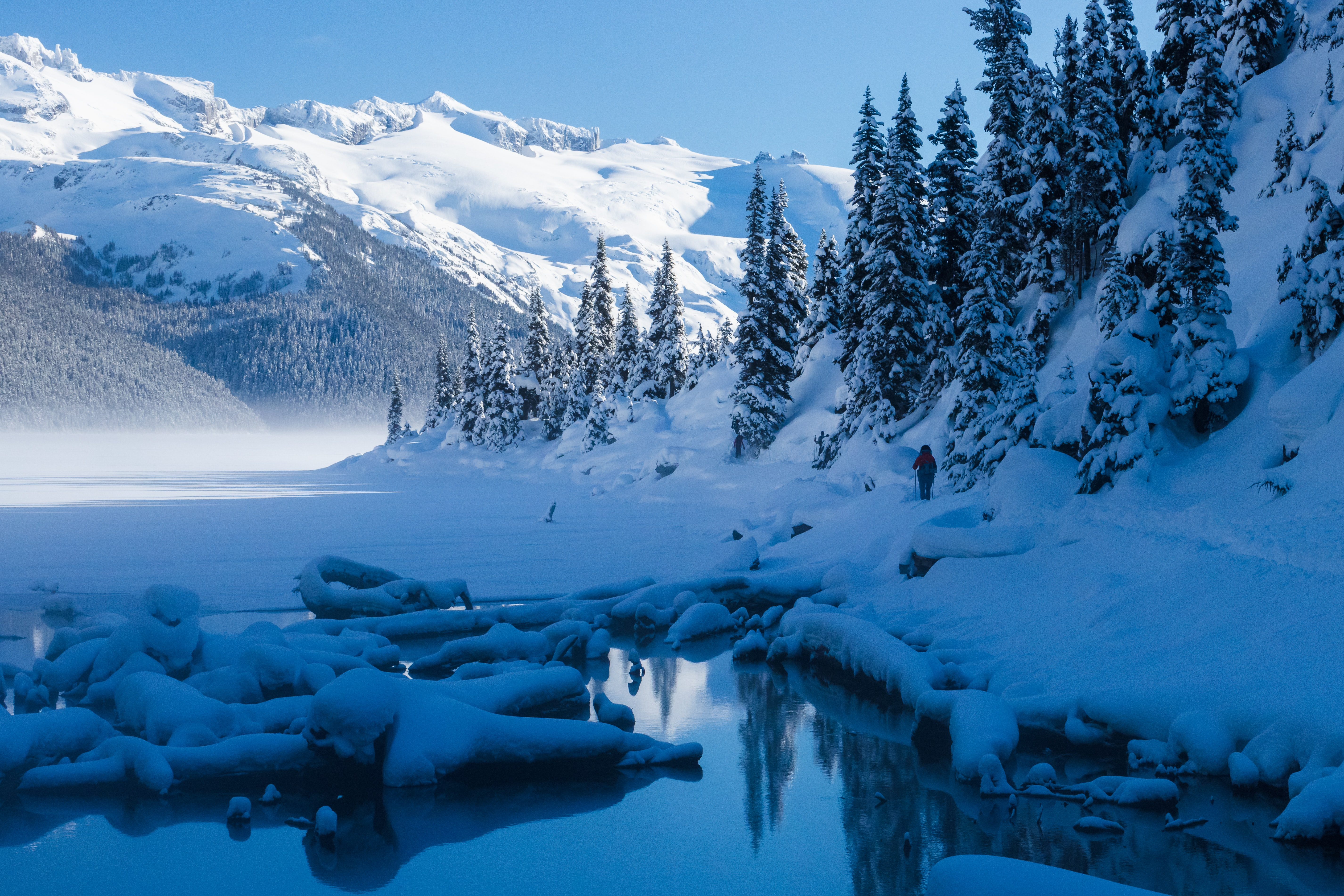 Download mobile wallpaper Landscape, Winter, Nature, Trees, Mountains, Snow, Lake for free.