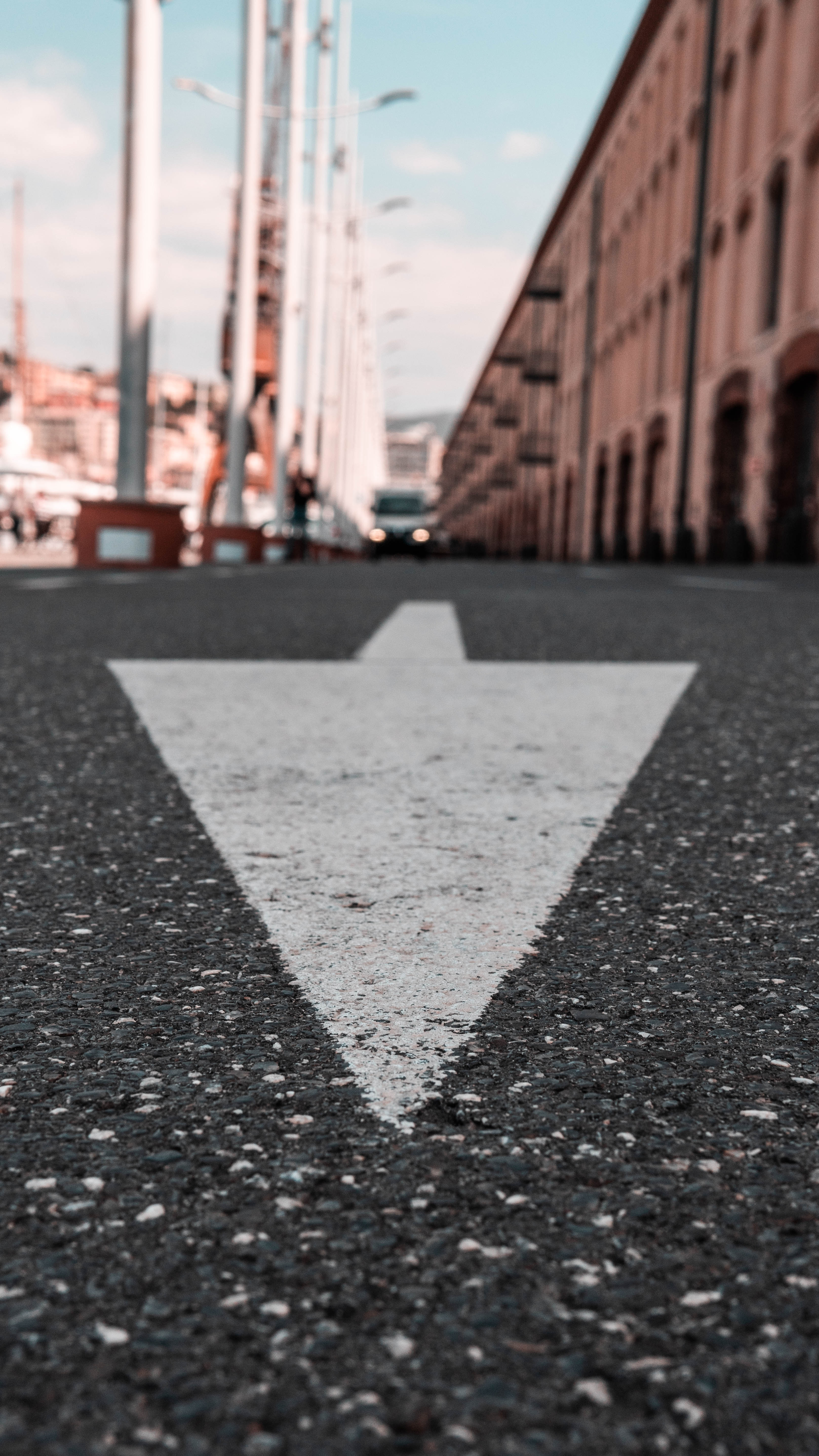 138280 download wallpaper Miscellanea, Miscellaneous, Asphalt, Markup, Arrow, Direction, Road screensavers and pictures for free