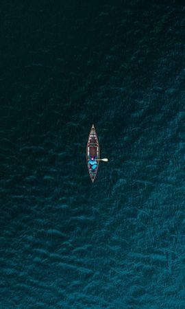 137965壁紙のダウンロードミニマリズム, ボート, 舟, 海, 上から見る, 水-スクリーンセーバーと写真を無料で