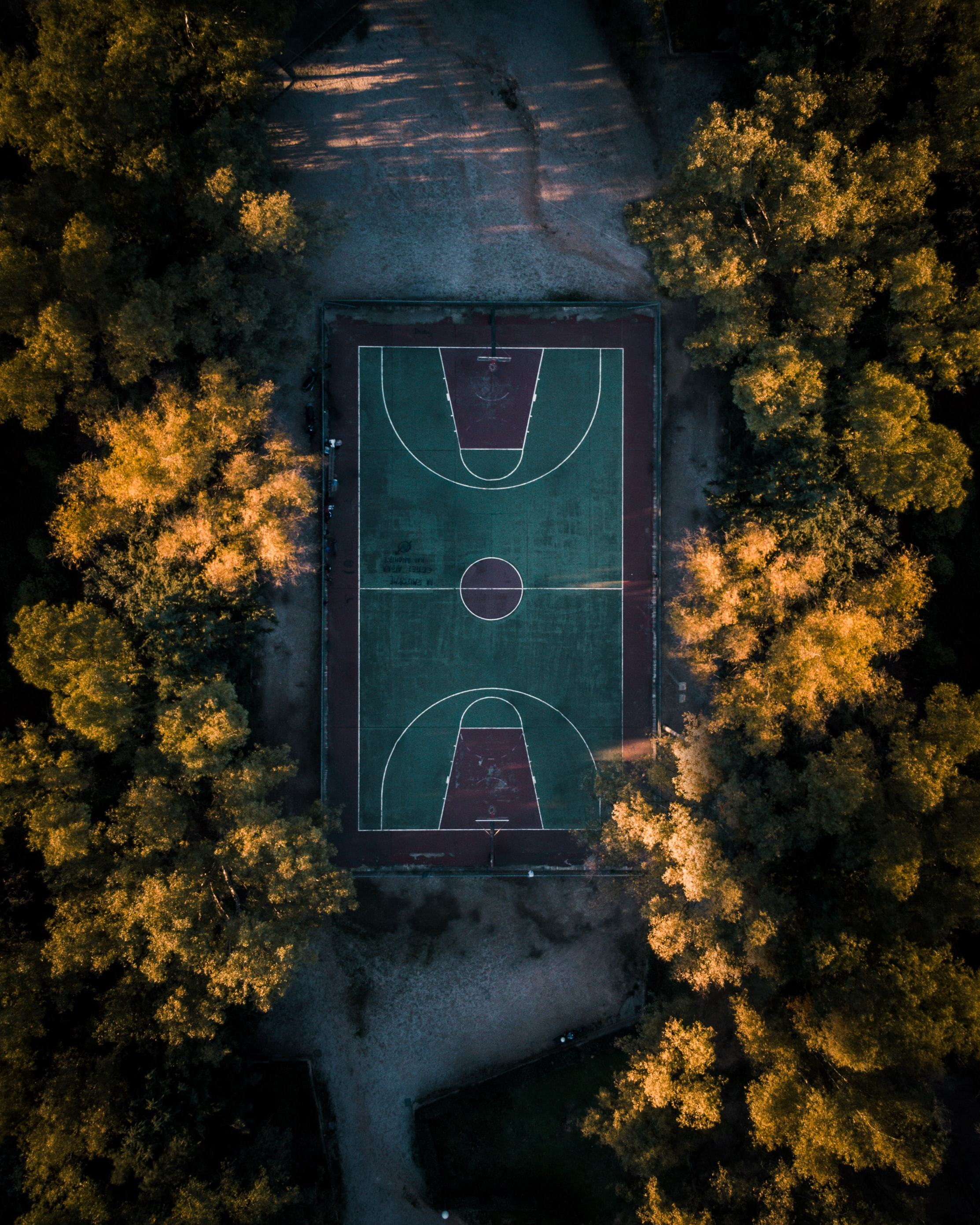 96373 download wallpaper Sports, Trees, Basketball, View From Above, Playground, Platform, Basketball Playground, Basketball Court screensavers and pictures for free