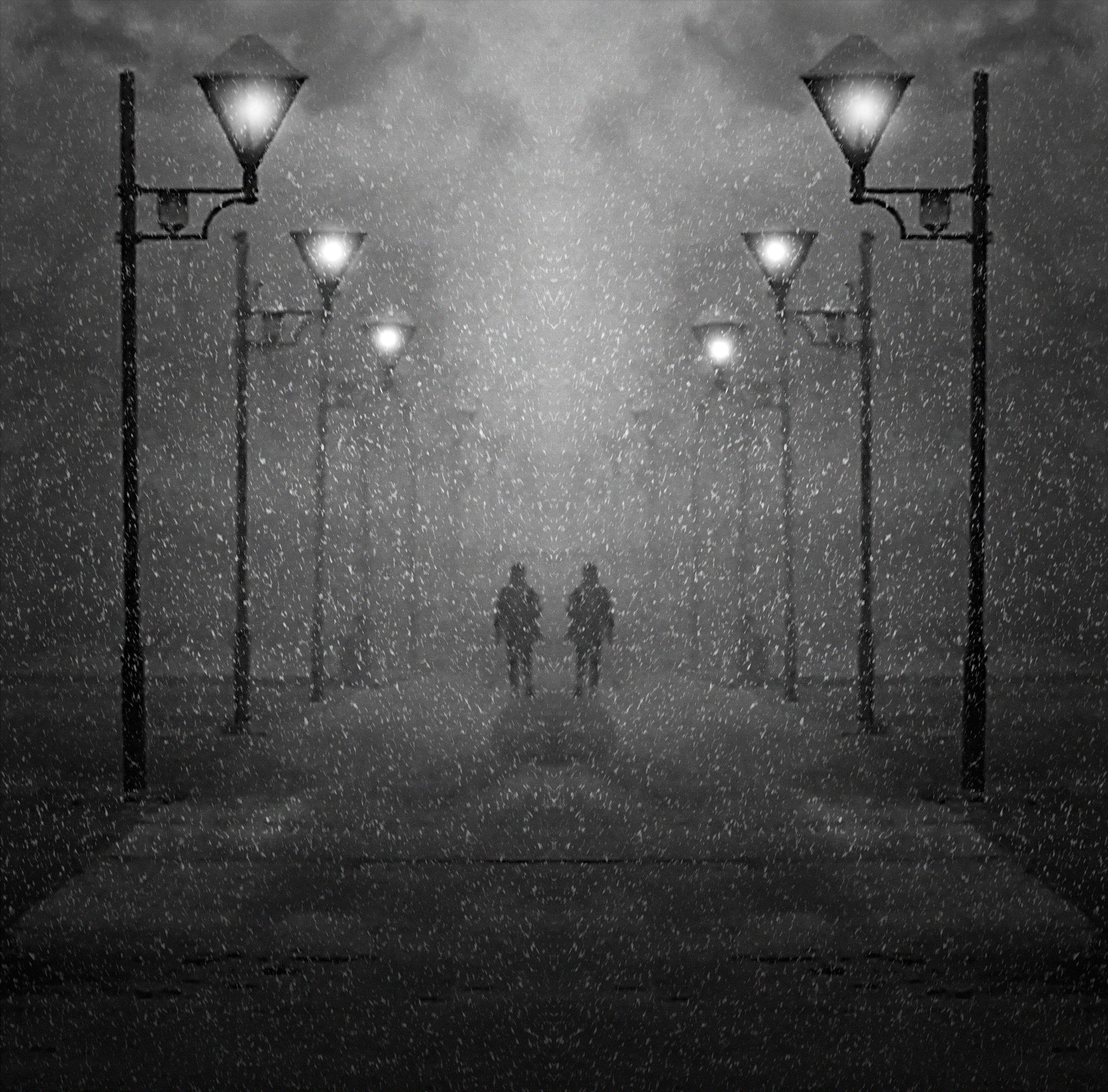 81757 download wallpaper Miscellanea, Miscellaneous, Street, Snow, Snowstorm, People, Silhouettes screensavers and pictures for free