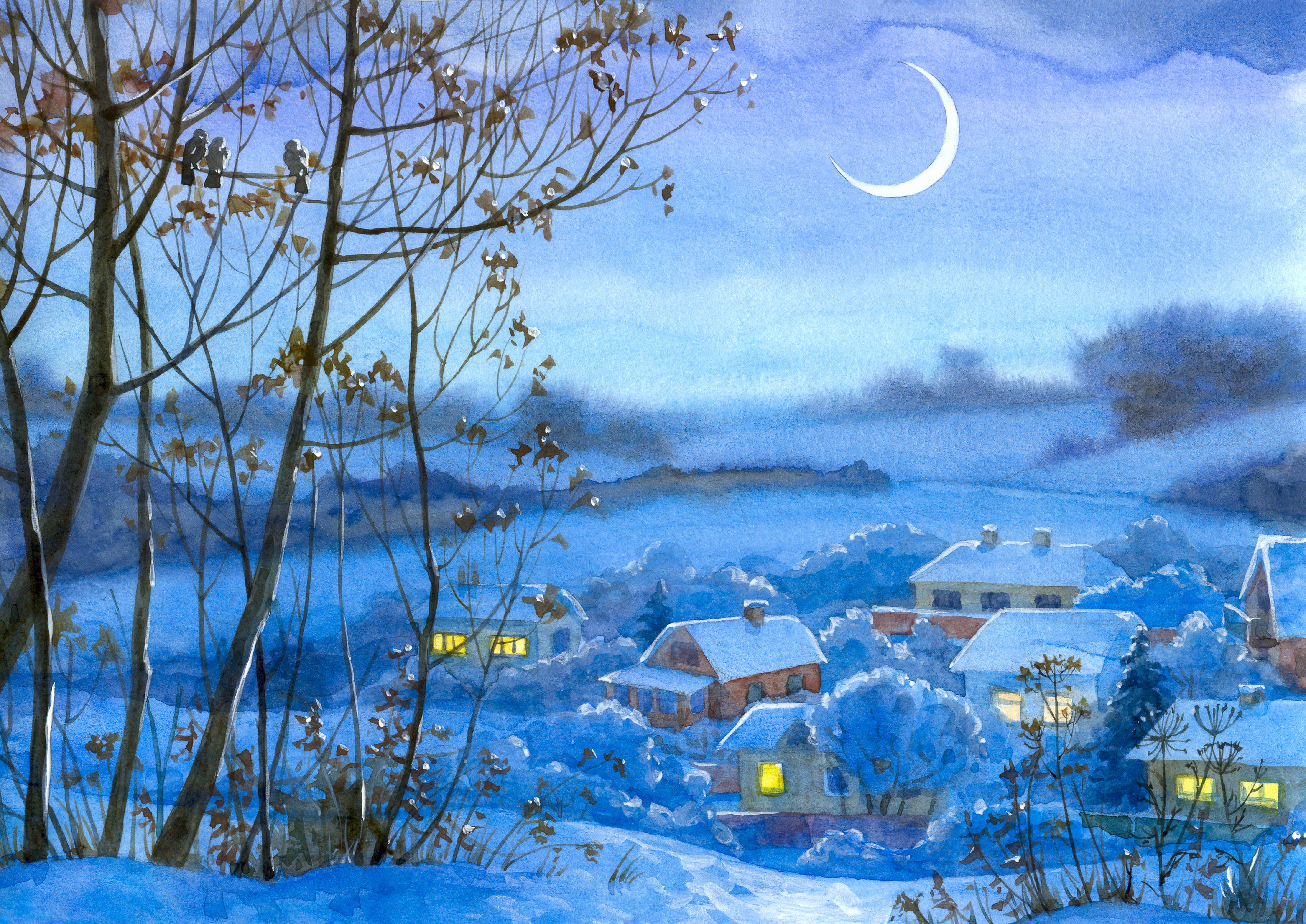 100915 Screensavers and Wallpapers Houses for phone. Download Art, Picture, Winter, Village, Houses, Night, Month, Snow pictures for free