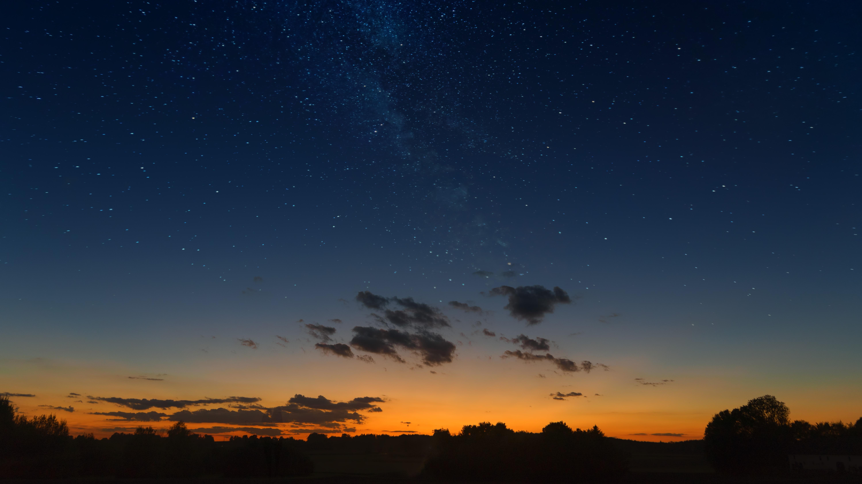 88175 Hintergrundbild herunterladen Landschaft, Natur, Sunset, Übernachtung, Clouds, Horizont, Sternenhimmel - Bildschirmschoner und Bilder kostenlos