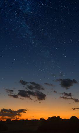 88175 скачать обои Природа, Звездное Небо, Горизонт, Закат, Ночь, Облака, Пейзаж - заставки и картинки бесплатно