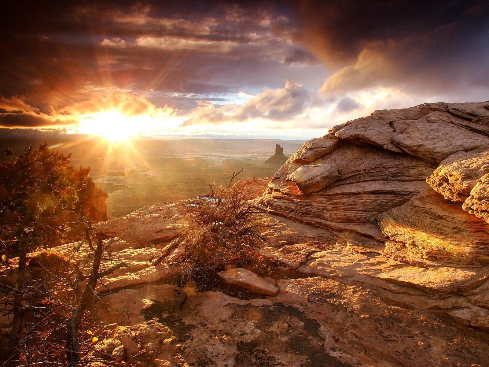 2408 download wallpaper Landscape, Sunset, Stones, Sky, Sun screensavers and pictures for free