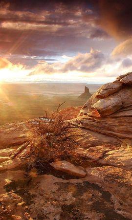 2408 скачать обои Пейзаж, Закат, Камни, Небо, Солнце - заставки и картинки бесплатно