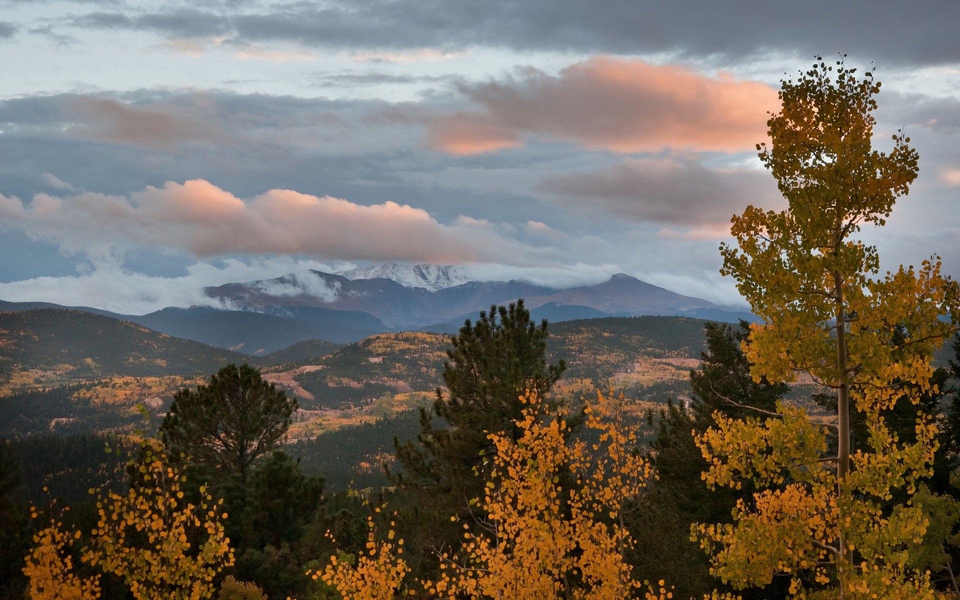 107049 скачать обои Природа, Осень, Небо, Облака, Деревья, Осины, Вечер, Горы, Сосны - заставки и картинки бесплатно