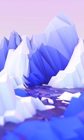 133939 télécharger le fond d'écran 3D, Polygone, Art, Lilas, Montagnes - économiseurs d'écran et images gratuitement