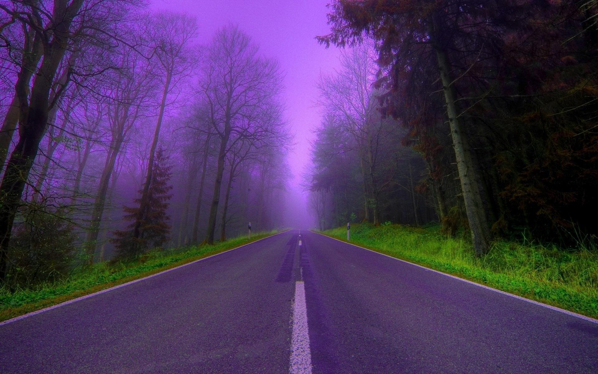 44273 скачать Фиолетовые обои на телефон бесплатно, Пейзаж, Дороги Фиолетовые картинки и заставки на мобильный