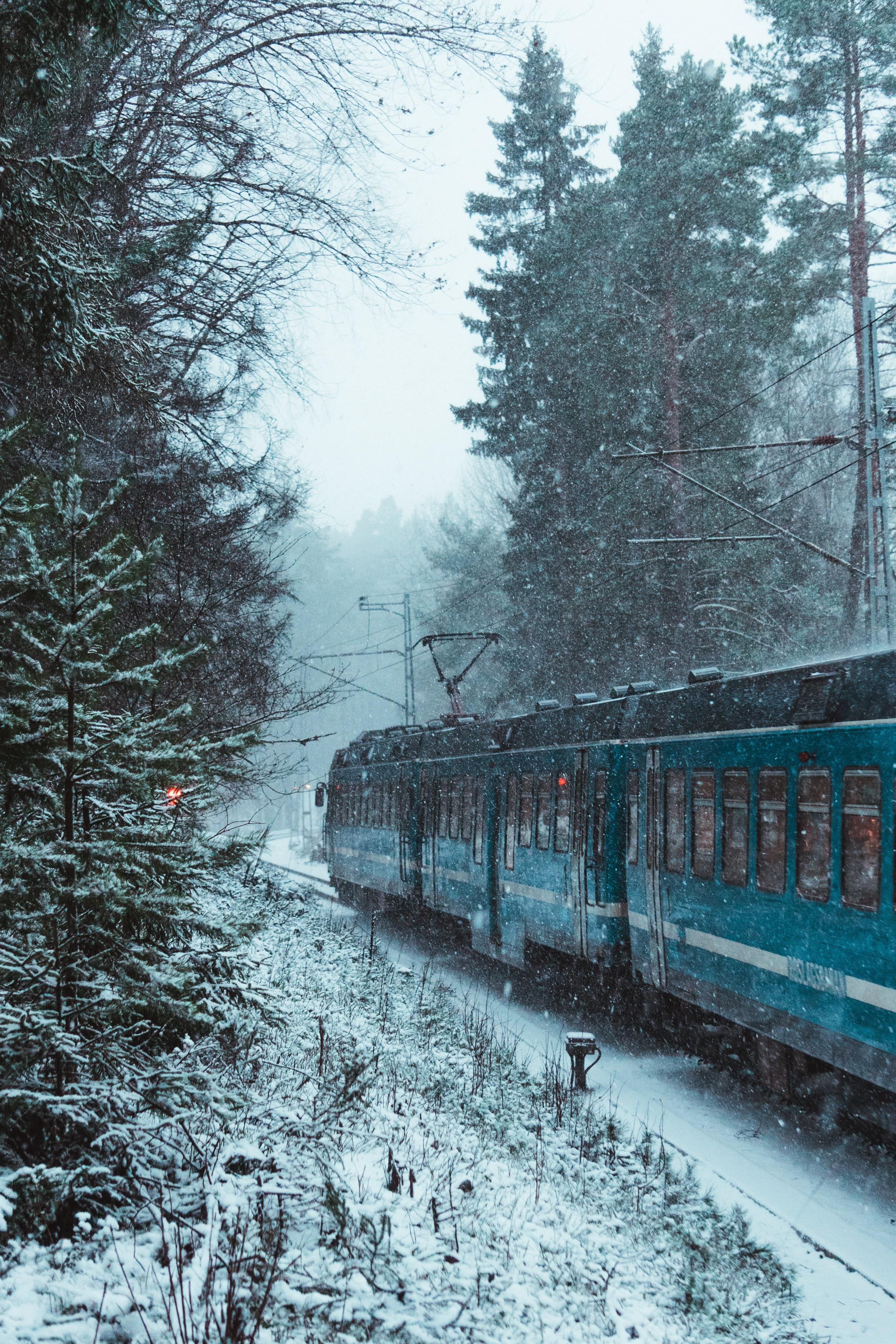 56060 Hintergrundbild herunterladen Verschiedenes, Winterreifen, Schnee, Sonstige, Wald, Ein Zug, Zug - Bildschirmschoner und Bilder kostenlos