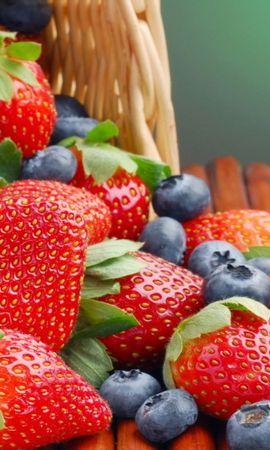 15458 télécharger le fond d'écran Fruits, Nourriture, Fraise, Contexte, Myrtilles, Baies - économiseurs d'écran et images gratuitement