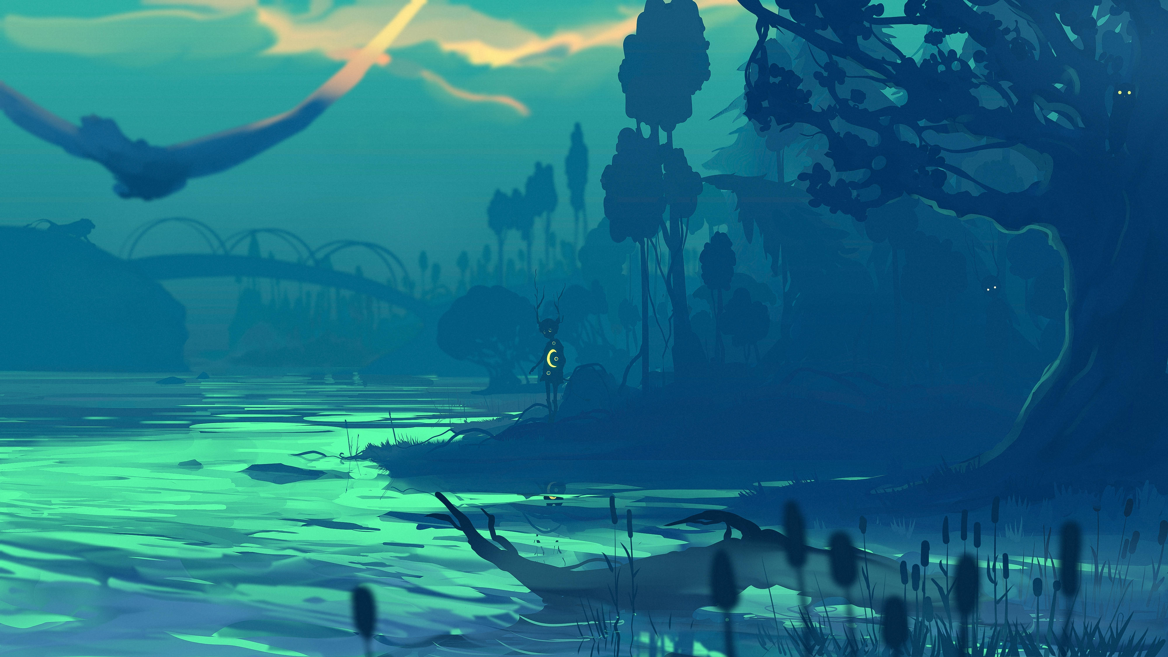141894 download wallpaper Rivers, Shore, Bank, Silhouette, Dark, Art screensavers and pictures for free