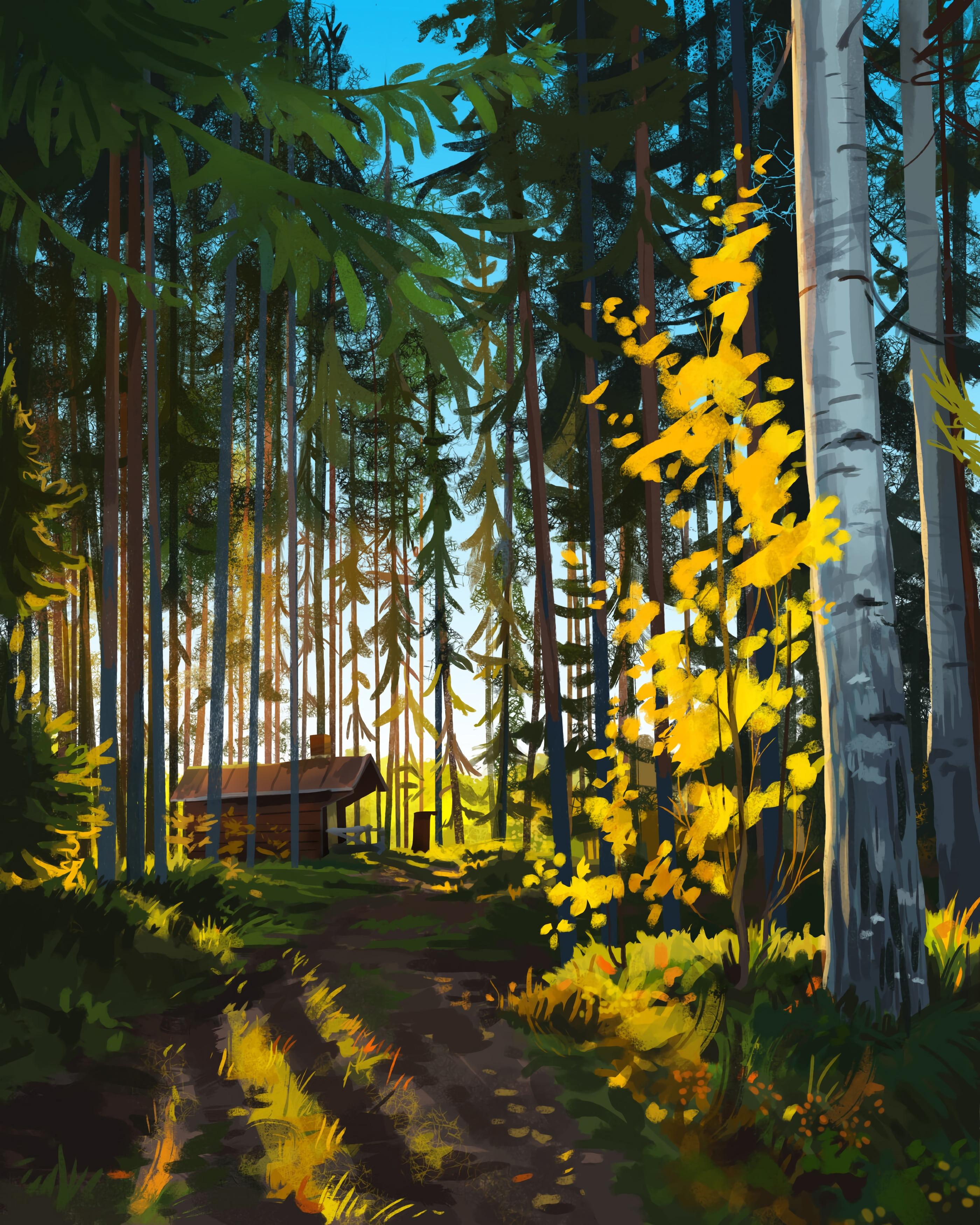 112022 papel de parede 720x1520 em seu telefone gratuitamente, baixe imagens Paisagem, Arte, Floresta, Lar, Casa 720x1520 em seu celular