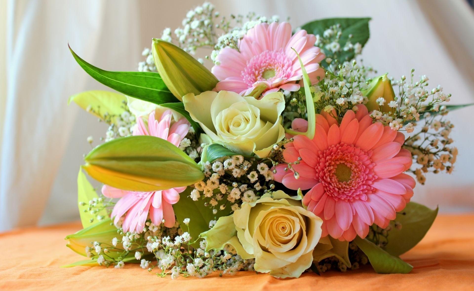 148582 скачать обои Цветы, Гипсофил, Букет, Розы, Герберы - заставки и картинки бесплатно