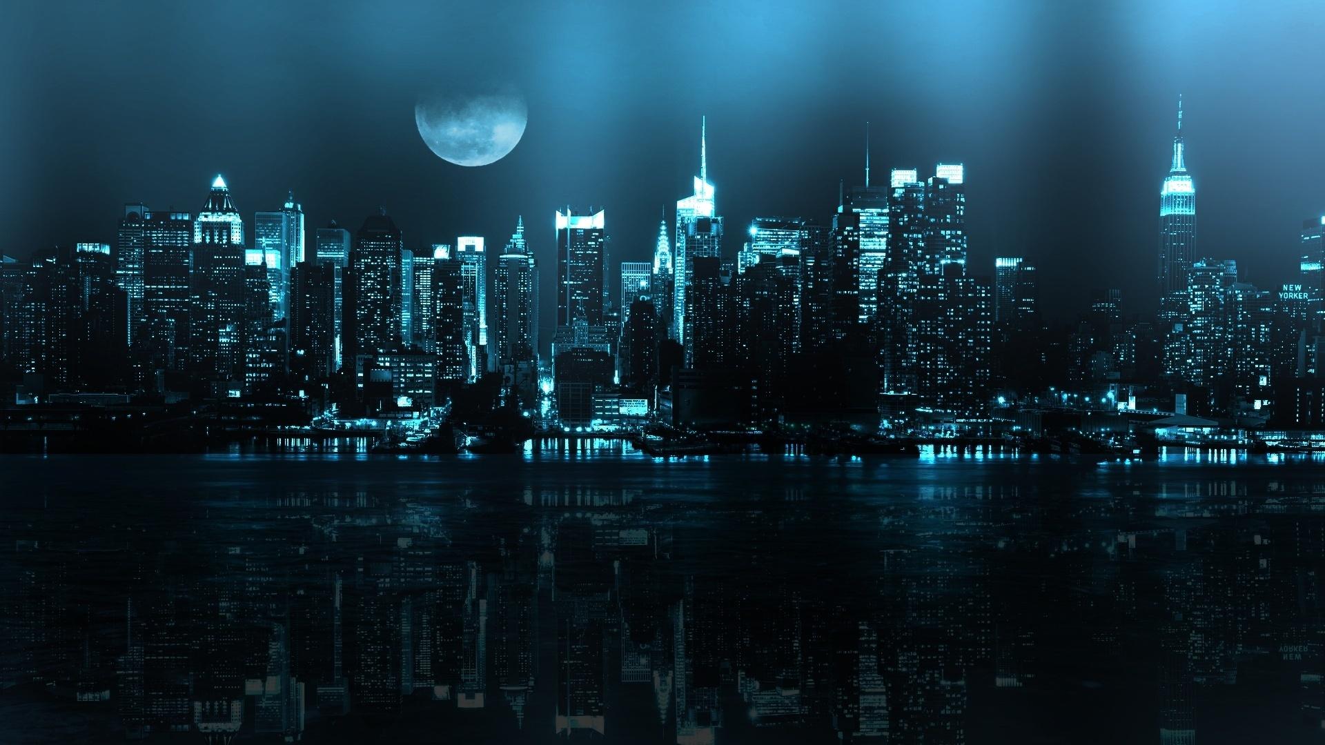 19229 скачать обои Пейзаж, Города, Ночь, Луна - заставки и картинки бесплатно