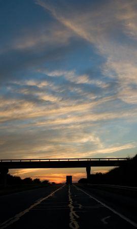 79120 descargar fondo de pantalla Oscuro, Puente, Camino, Pista, Ruta, Noche, Transporte, Nubes, Cielo: protectores de pantalla e imágenes gratis