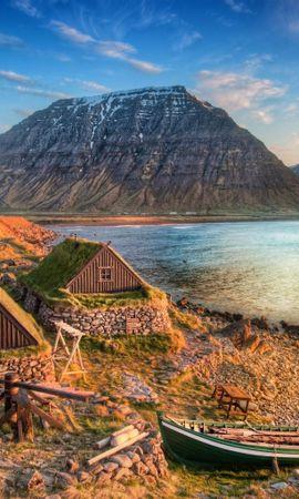 20462 скачать обои Пейзаж, Дома, Горы, Море, Лодки - заставки и картинки бесплатно