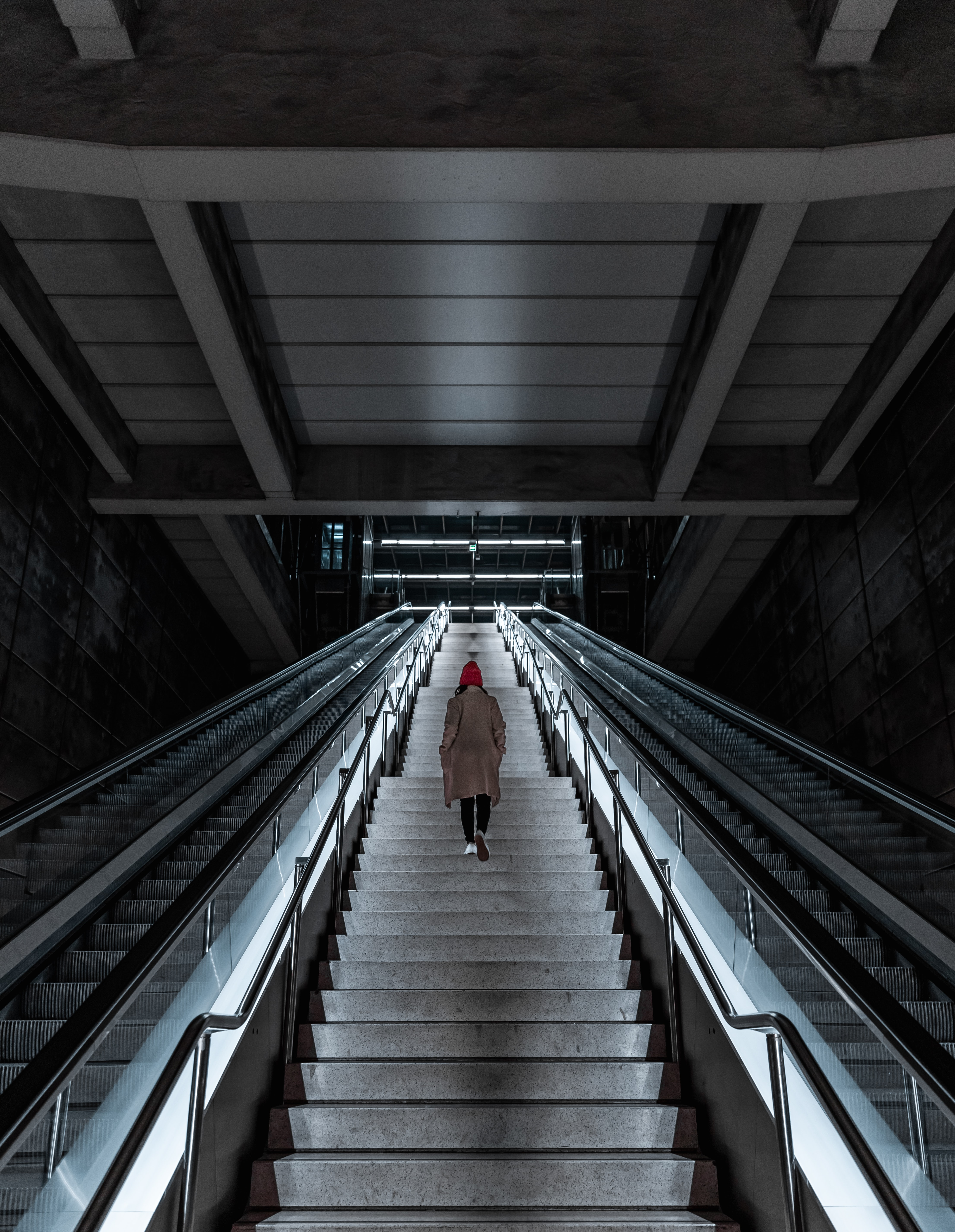 107203 Screensavers and Wallpapers Metro for phone. Download Miscellanea, Miscellaneous, Girl, Stairs, Ladder, Loneliness, Metro, Subway pictures for free