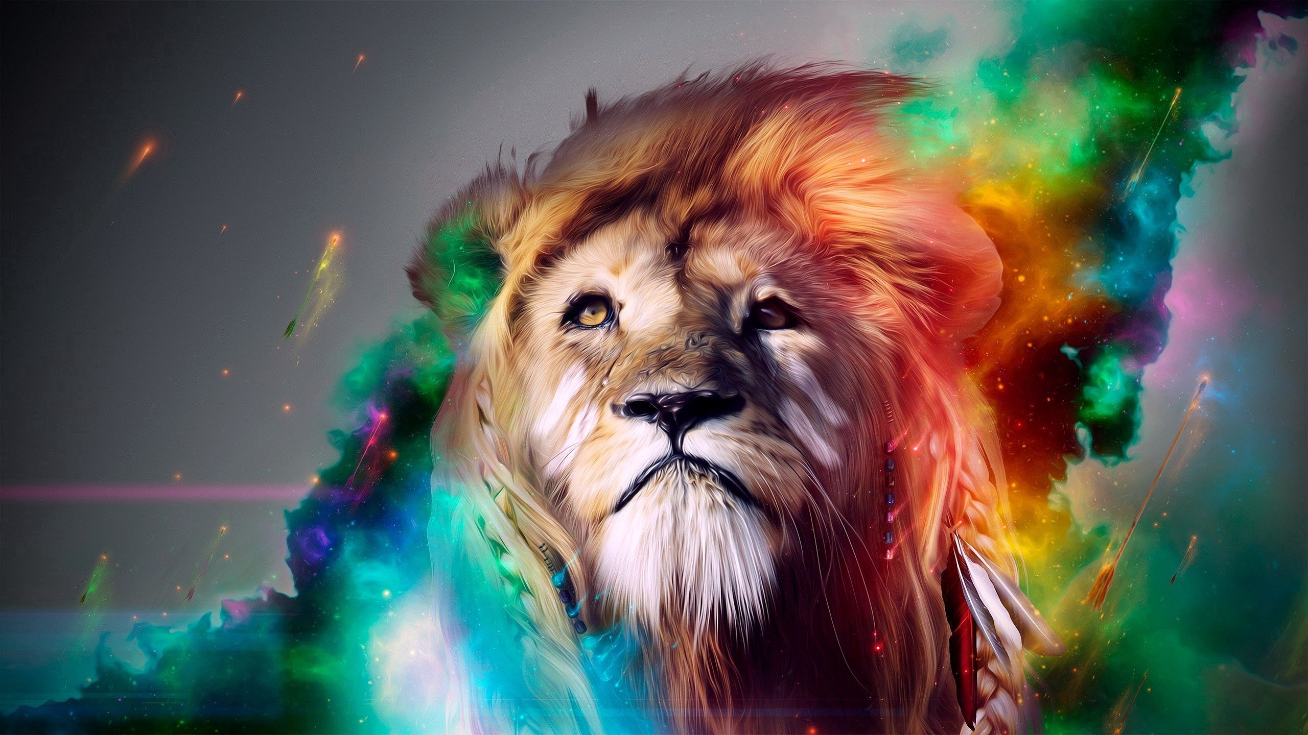 133110 Hintergrundbild herunterladen Abstrakt, Raucher, Mehrfarbig, Motley, Schnauze, Ein Löwe, Löwe, Große Katze, Big Cat - Bildschirmschoner und Bilder kostenlos