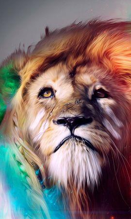133110 télécharger le fond d'écran Abstrait, Un Lion, Lion, Gros Chat, Fauve, Museau, Muselière, Multicolore, Hétéroclite, Fumée - économiseurs d'écran et images gratuitement