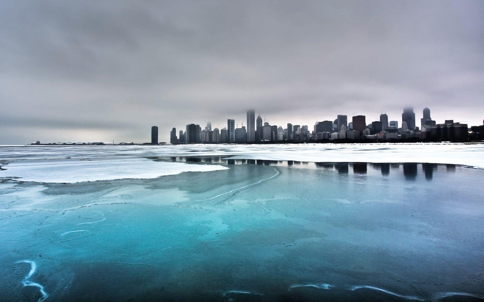 146402 скачать обои Природа, Город, Зима, Океан, Побережье, Лед, Туман, Холод - заставки и картинки бесплатно