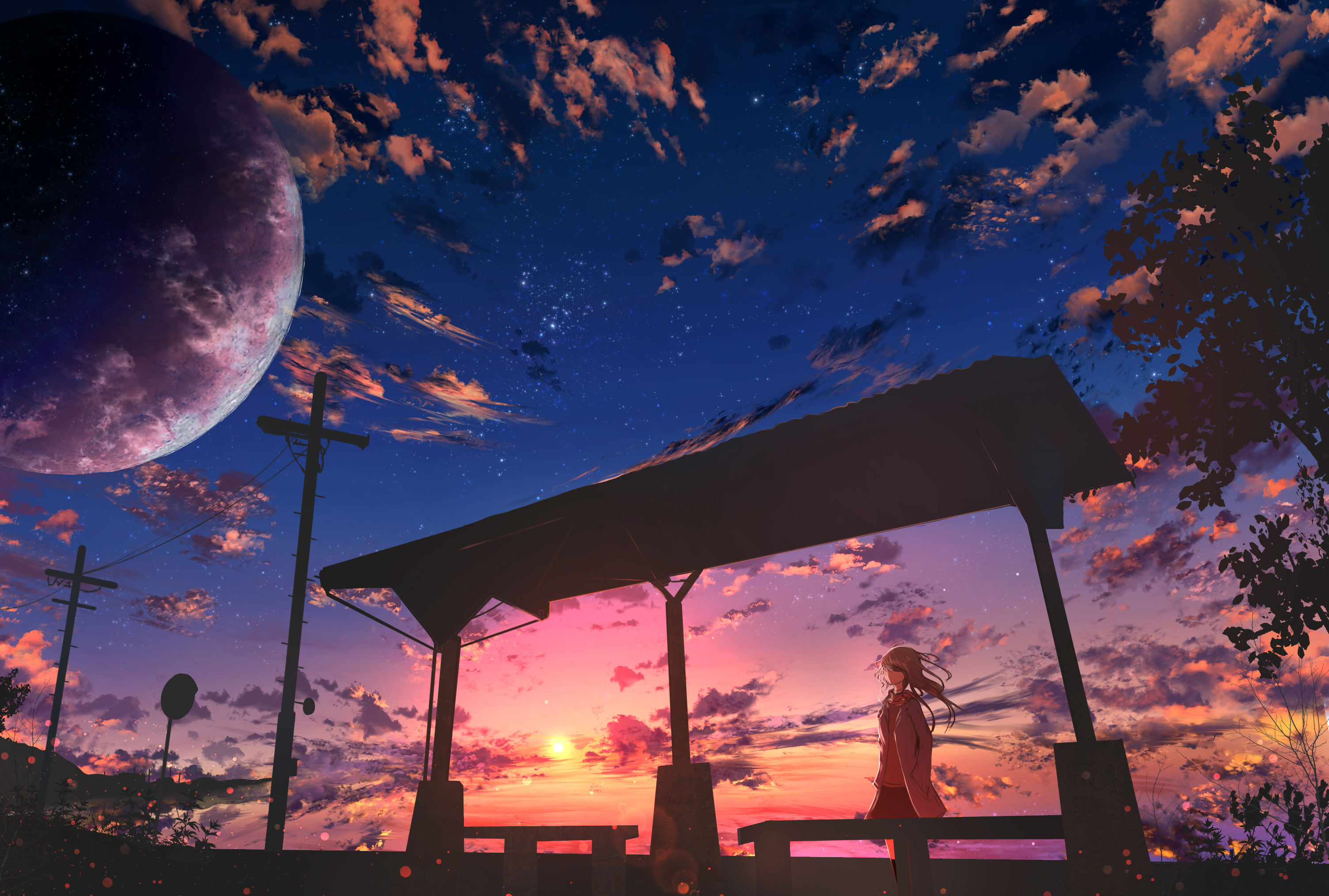 124190 download wallpaper Anime, Twilight, Clouds, Dusk, Girl screensavers and pictures for free