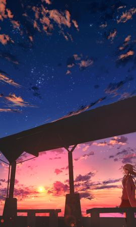124190 download wallpaper Girl, Dusk, Twilight, Clouds, Anime screensavers and pictures for free