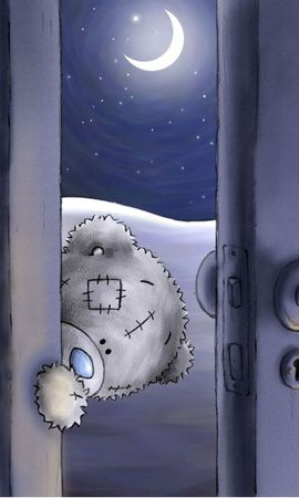 69452 download wallpaper Art, Teddy Bear, Peep, Door, Funny screensavers and pictures for free