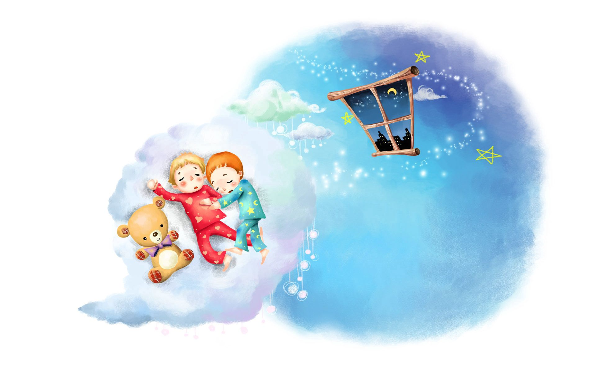 56468 download wallpaper Love, Picture, Drawing, Clouds, Toddlers, Kids, Sleep, Dream, Childhood, Pajamas, Window, Month, Stars, Teddy Bear screensavers and pictures for free