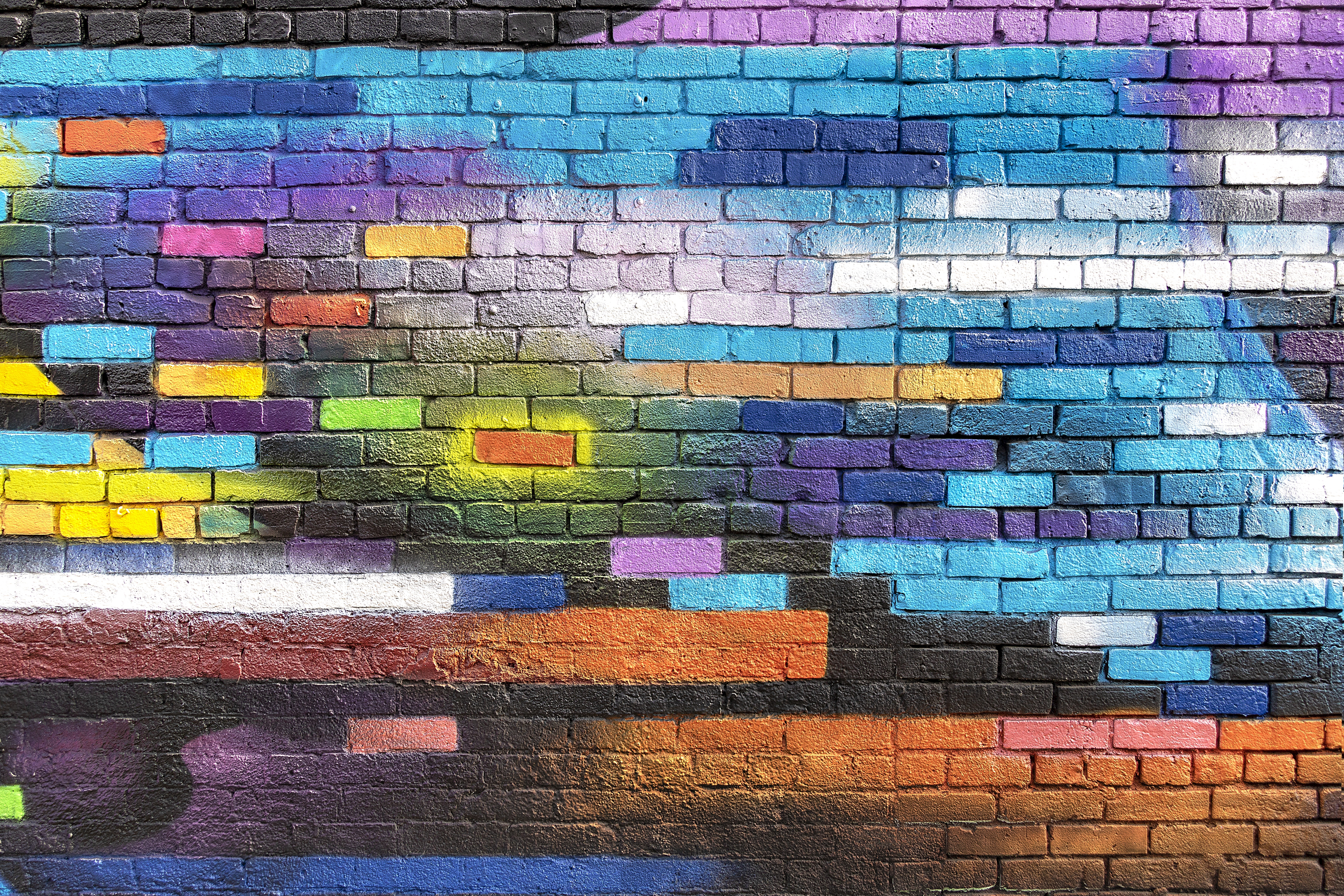 60383 Screensavers and Wallpapers Wall for phone. Download Paint, Miscellaneous, Miscellanea, Wall, Colorful, Colourful, Graffiti, Brick, Street Art pictures for free
