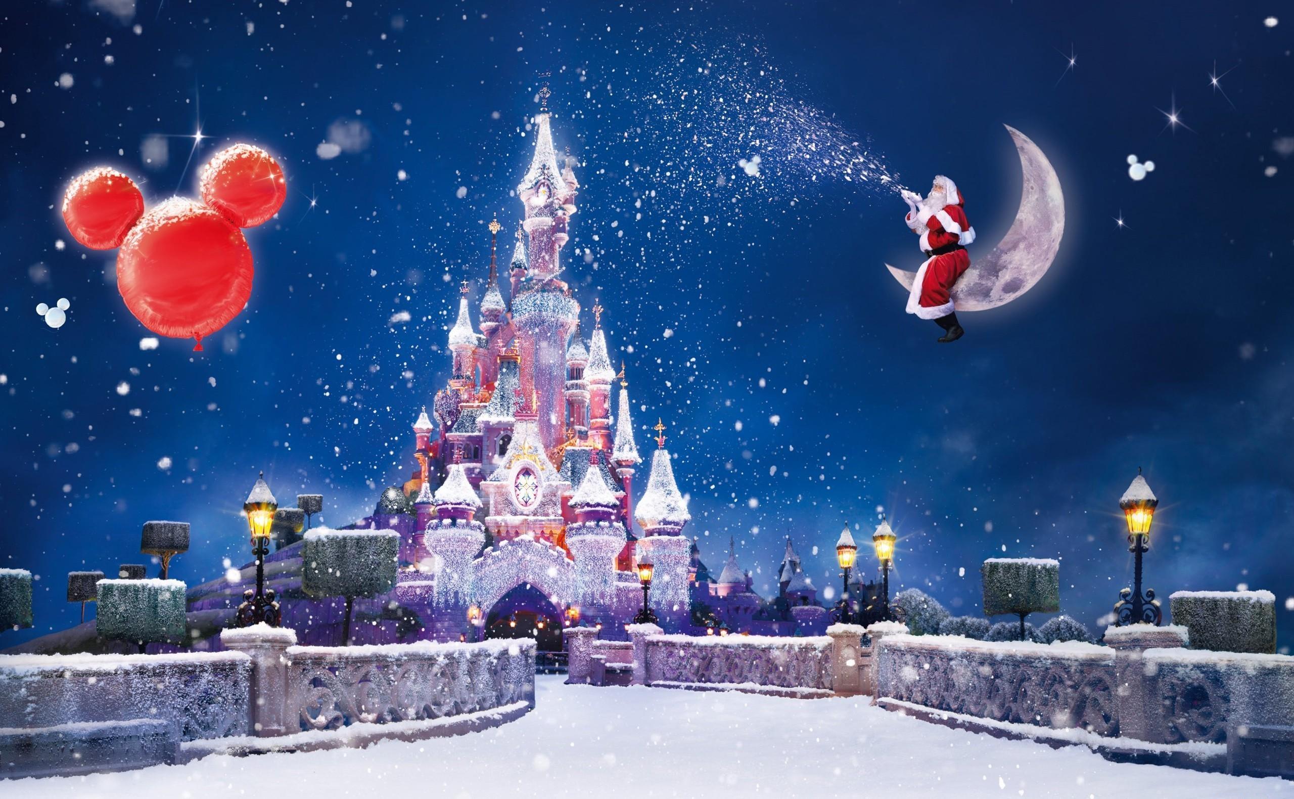 124798 скачать обои Праздники, Санта Клаус, Волшебство, Луна, Снег, Замок, Праздник, Рождество, Воздушные Шары - заставки и картинки бесплатно