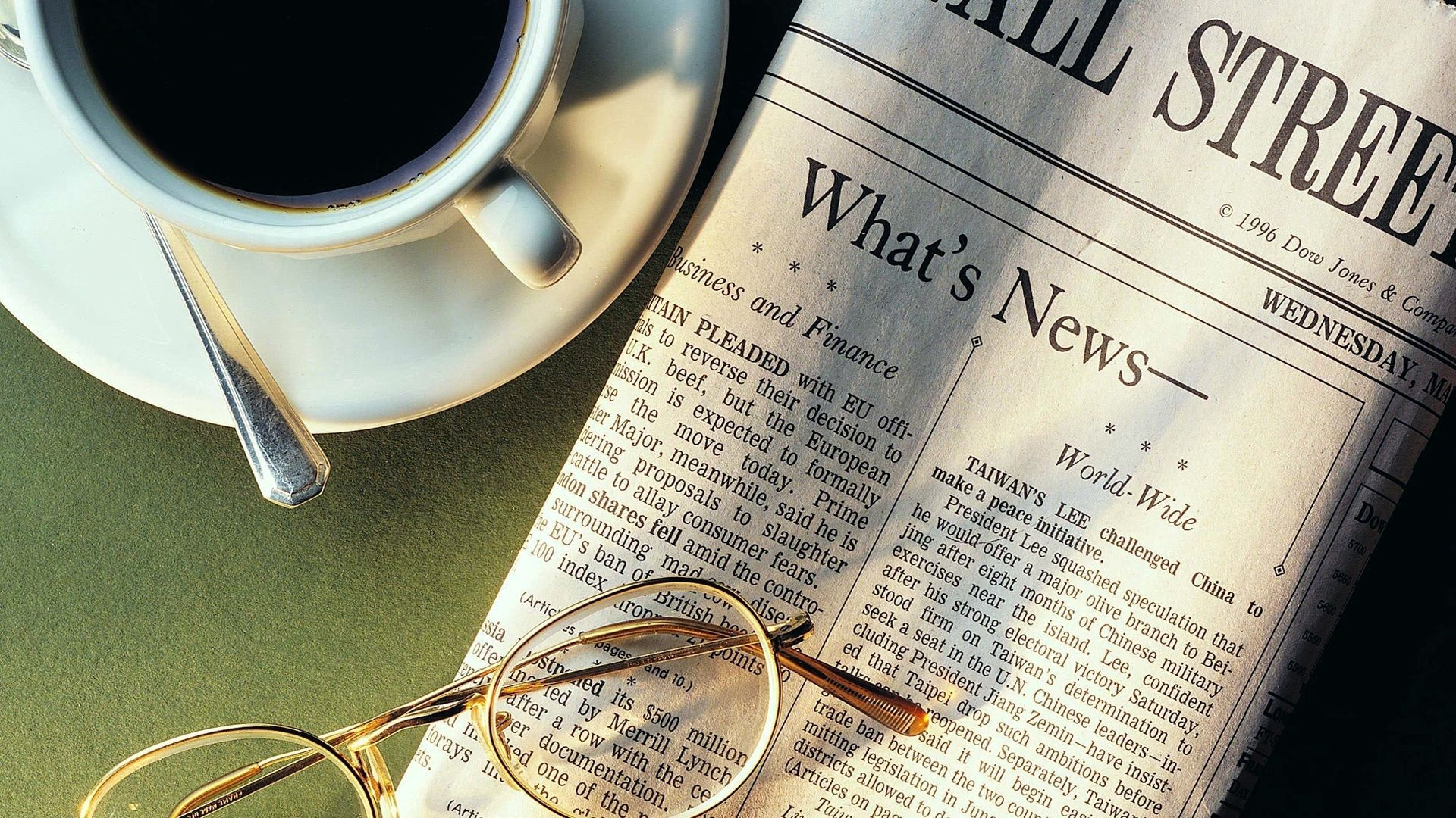 89413 download wallpaper Food, Coffee, Cup, Glasses, Spectacles, Newspaper, Spoon, News, Cup Holder screensavers and pictures for free