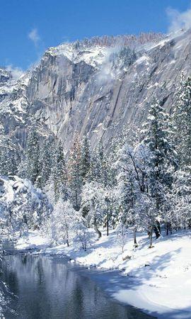 10082 скачать обои Пейзаж, Зима, Река, Деревья, Горы, Снег - заставки и картинки бесплатно