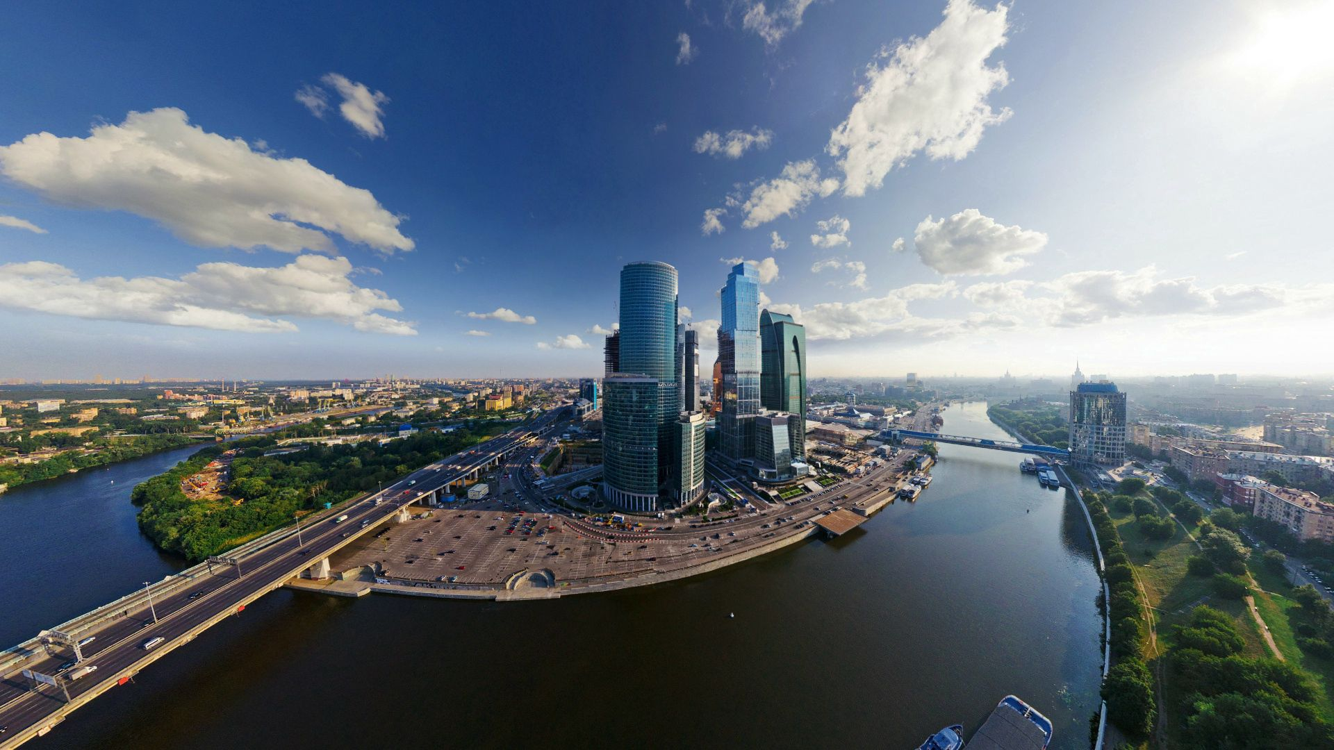 144567 Screensavers and Wallpapers Bridge for phone. Download Skyscrapers, Building, Cities, Moskow, Bridge, Moscow City pictures for free
