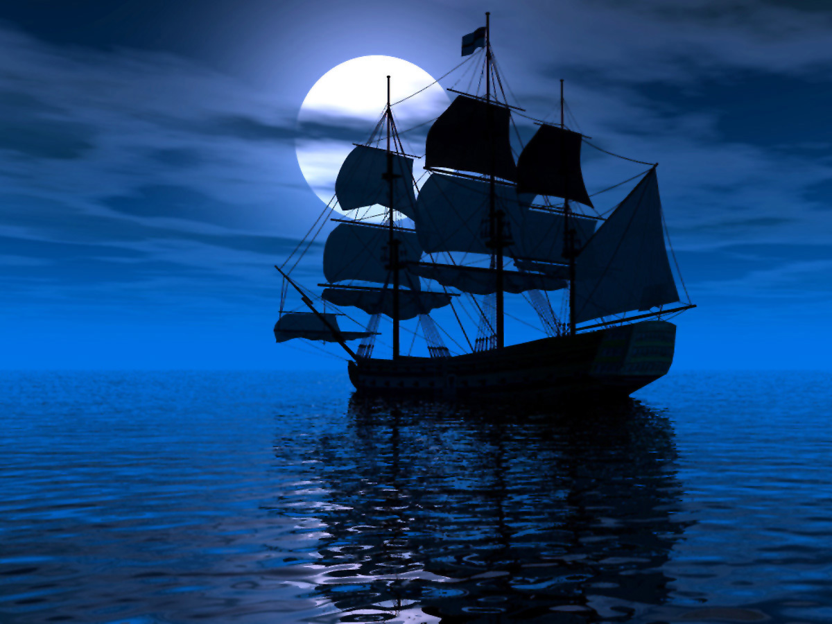11012 download wallpaper Transport, Ships, Sea, Moon screensavers and pictures for free