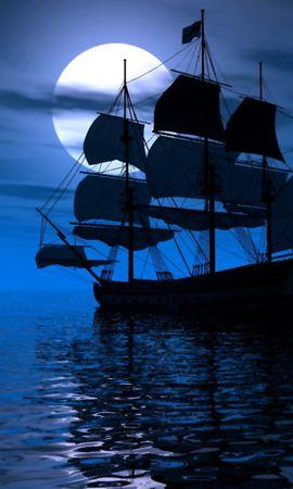 11012 скачать обои Транспорт, Корабли, Море, Луна - заставки и картинки бесплатно