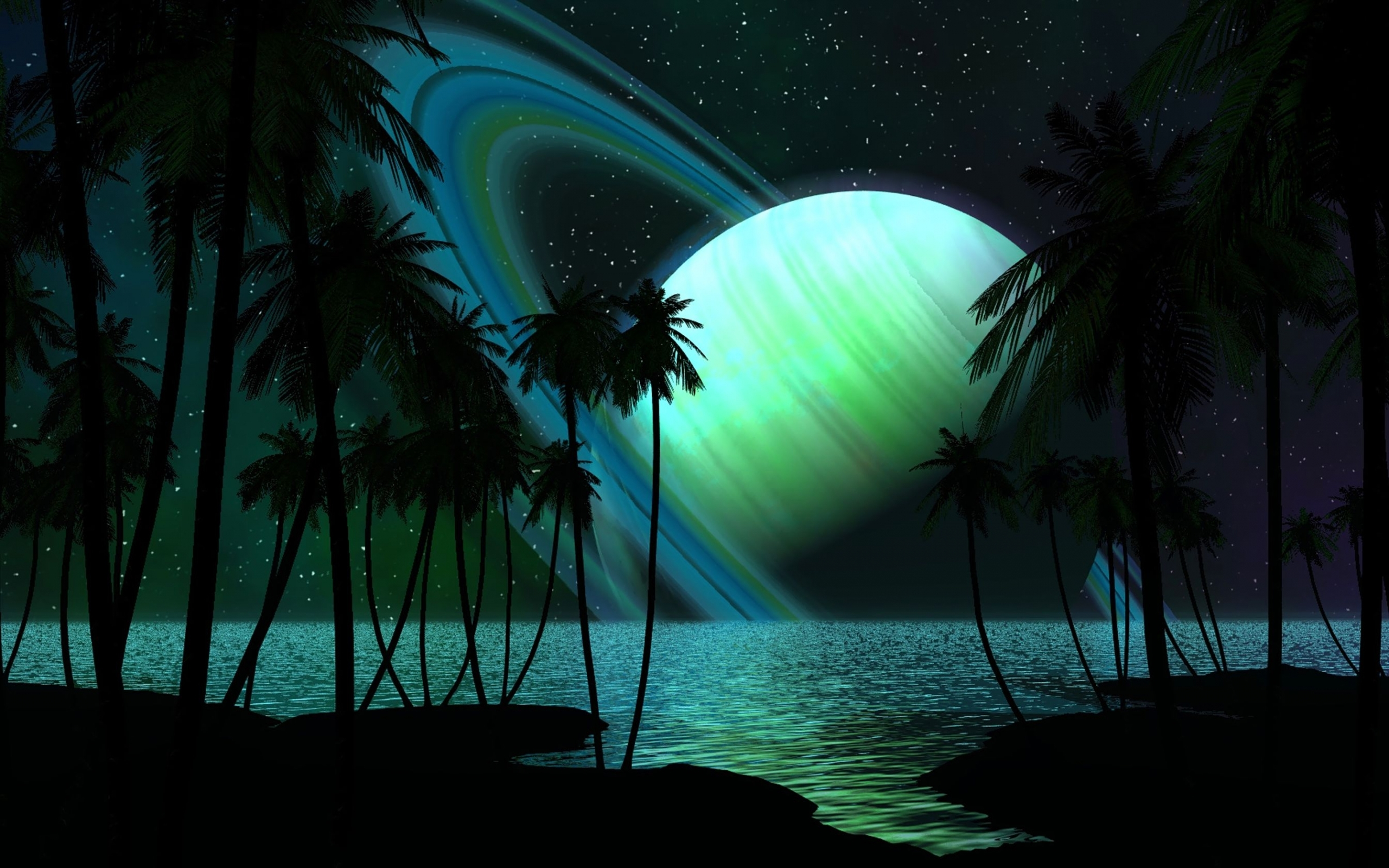 23249 download wallpaper Landscape, Fantasy, Sky, Planets, Sea, Night, Palms screensavers and pictures for free