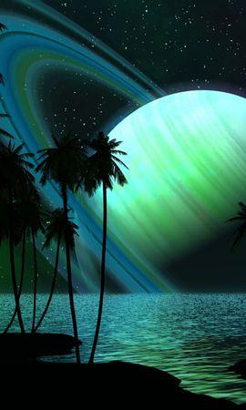 23249 скачать обои Пейзаж, Фэнтези, Небо, Планеты, Море, Ночь, Пальмы - заставки и картинки бесплатно