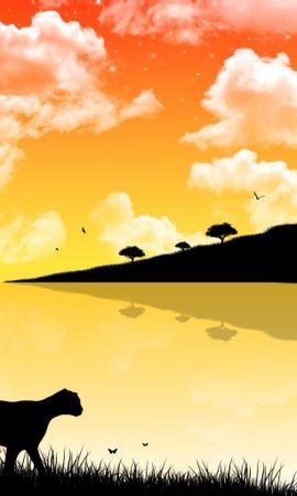 13307 télécharger le fond d'écran Paysage, Sky, Nuages, Léopards, Dessins - économiseurs d'écran et images gratuitement