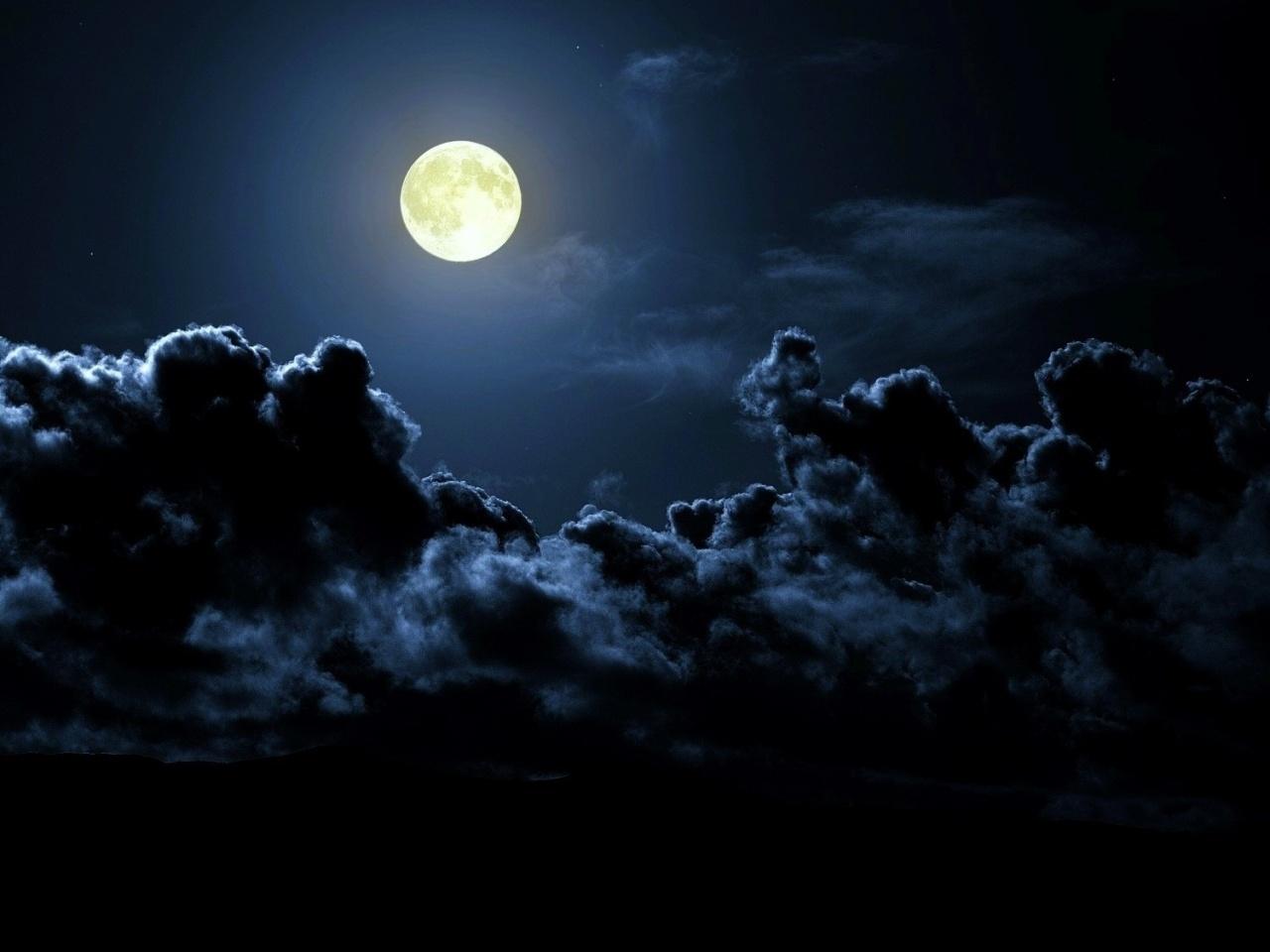 27859 скачать обои Пейзаж, Небо, Ночь, Облака, Луна - заставки и картинки бесплатно