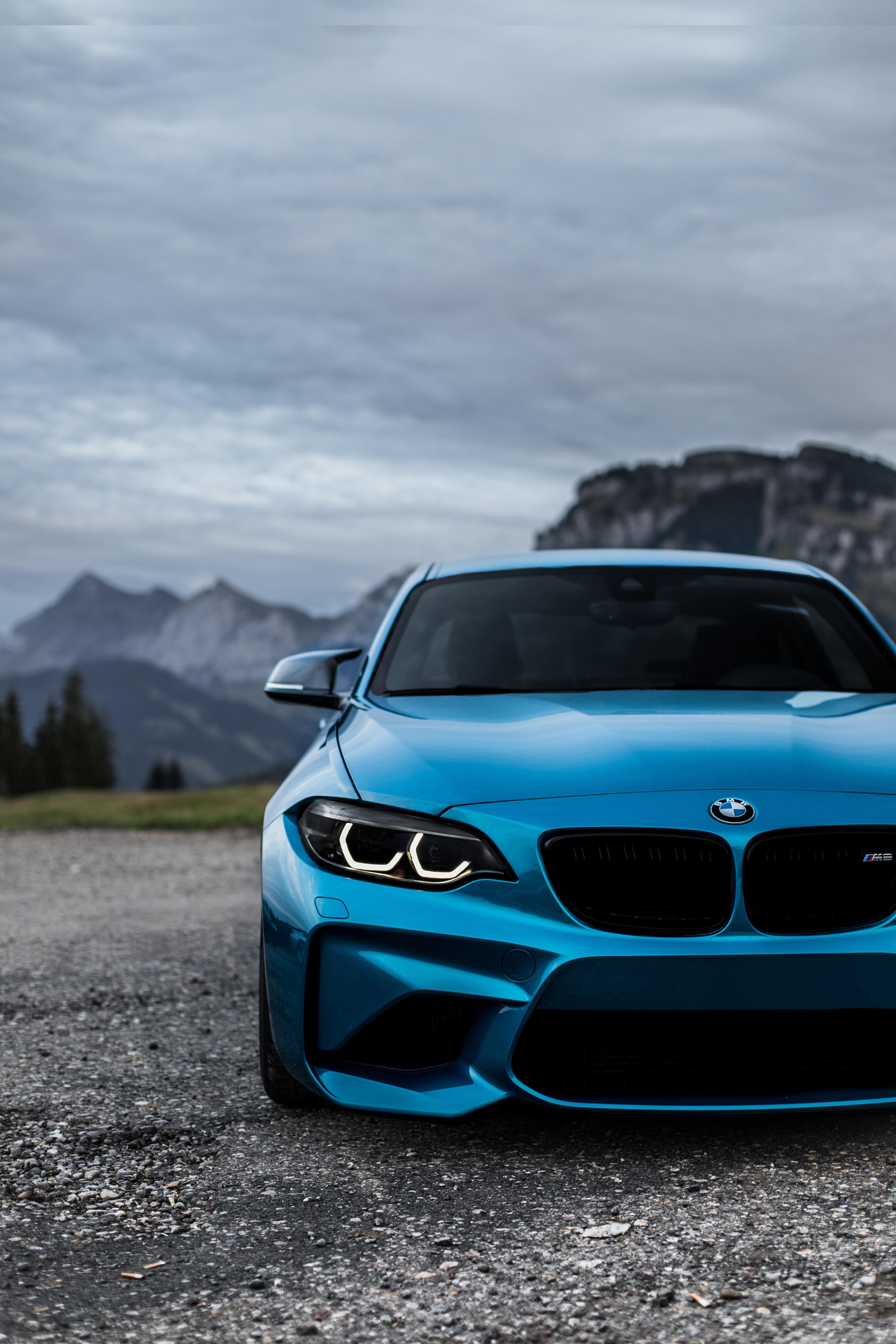 95414 скачать обои Тачки (Cars), Bmw M2, Бмв (Bmw), Вид Спереди, Синий, Фары - заставки и картинки бесплатно