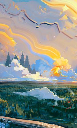 140696 télécharger le fond d'écran Art, Lune, Herbe, Coloré, Paysage - économiseurs d'écran et images gratuitement