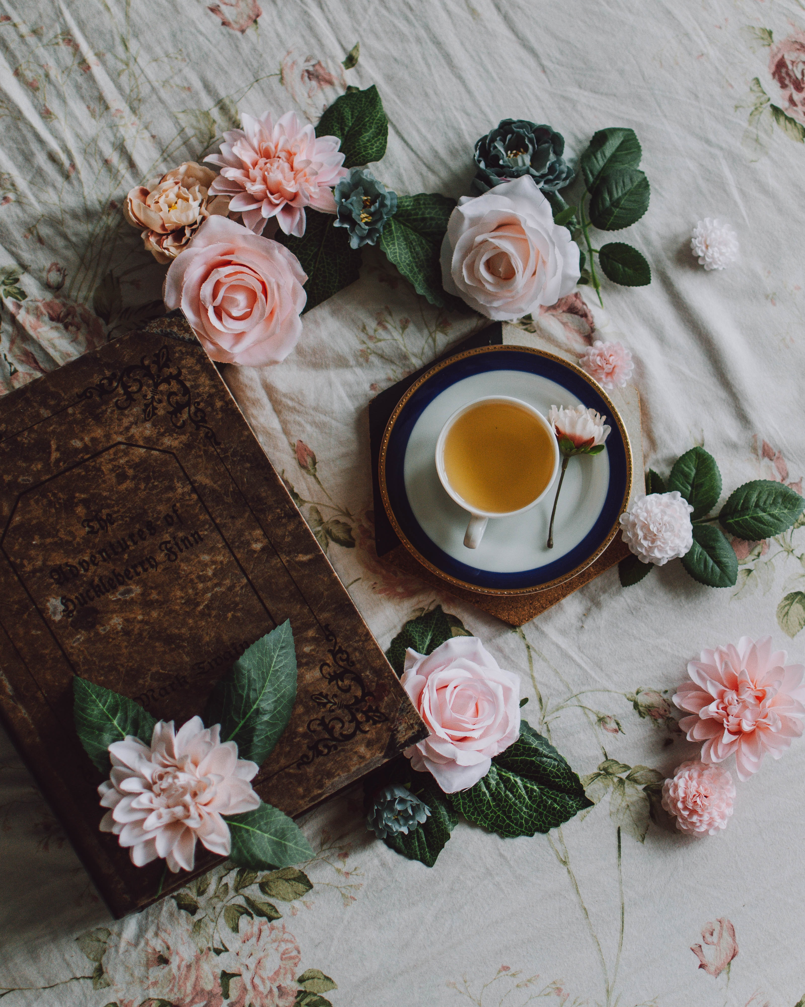 151039 Screensavers and Wallpapers Book for phone. Download Flowers, Still Life, Cup, Book, Tea pictures for free