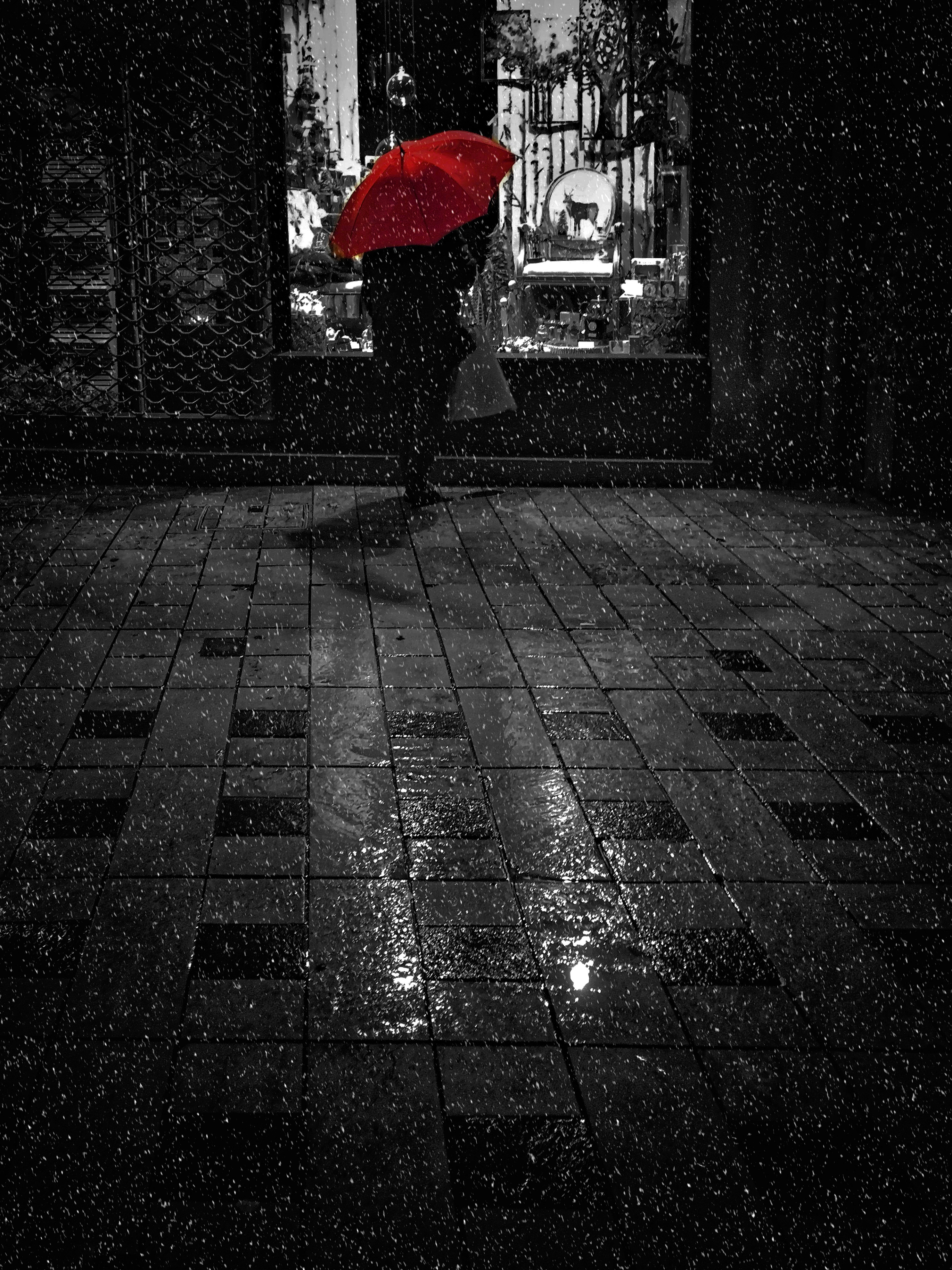 81864 Screensavers and Wallpapers Human for phone. Download Rain, Night, Dark, Stroll, Bw, Chb, Human, Person, Loneliness, Umbrella, Showcase pictures for free