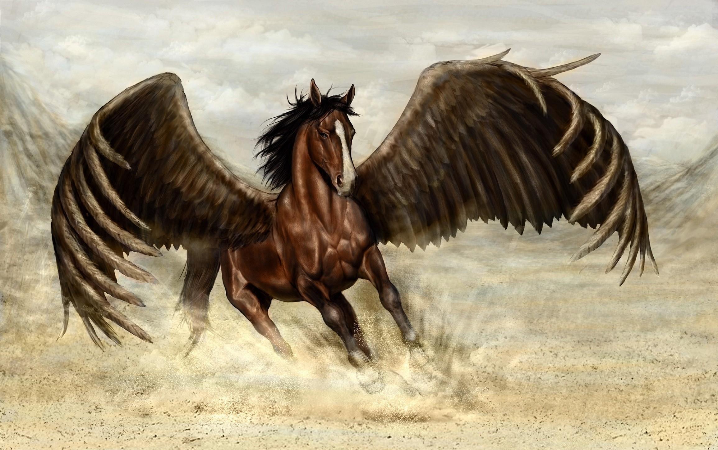 55597 скачать обои Пегас, Фэнтези, Лошадь, Песок, Крылья - заставки и картинки бесплатно