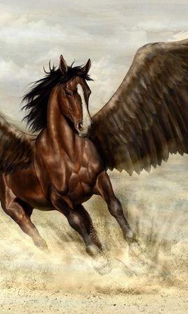 55597 baixar papel de parede Fantasia, Pegasus, Pégaso, Cavalo, Asas, Areia - protetores de tela e imagens gratuitamente