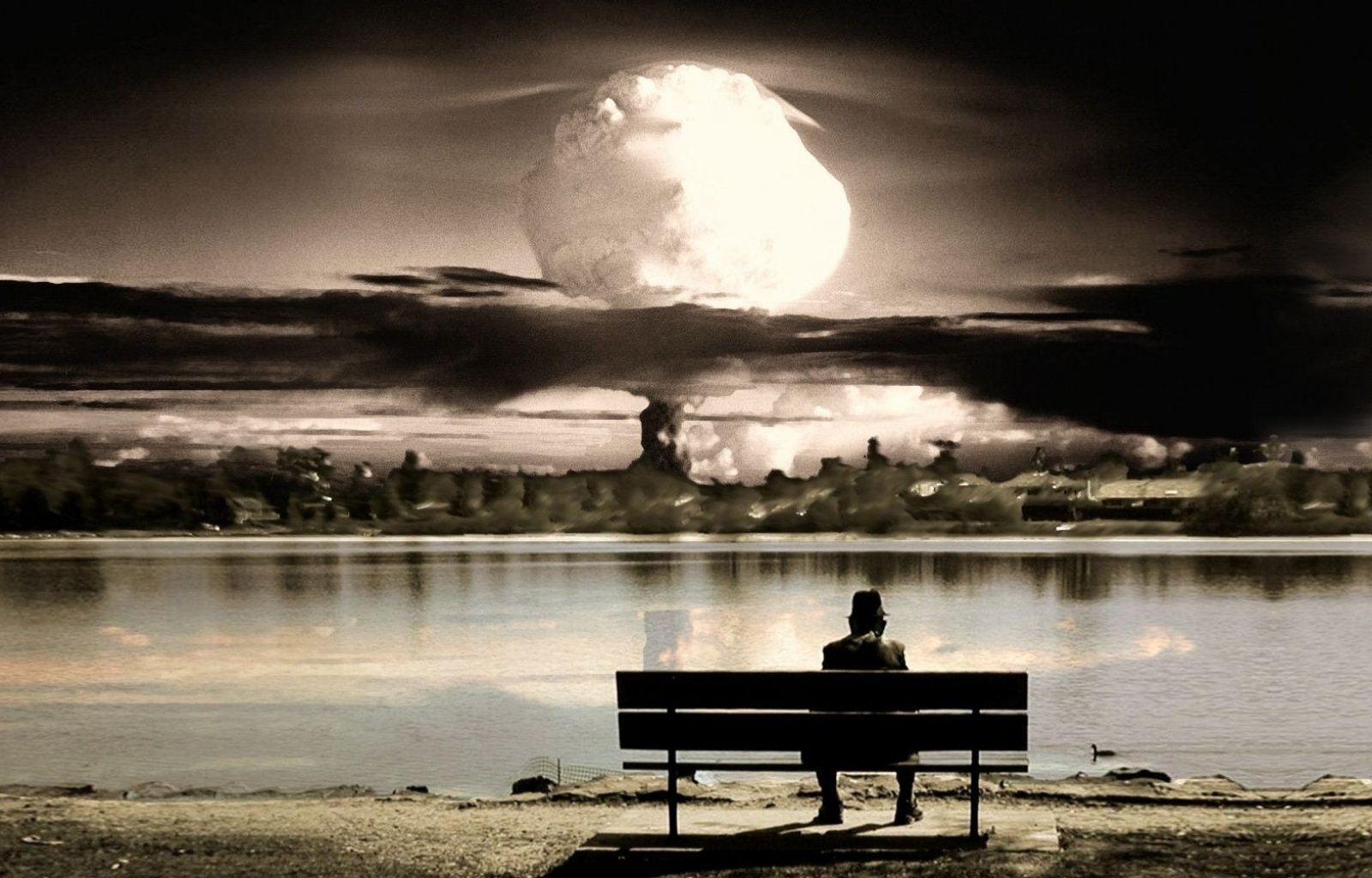 30834 download wallpaper Landscape, Explosions, Art Photo, Men screensavers and pictures for free