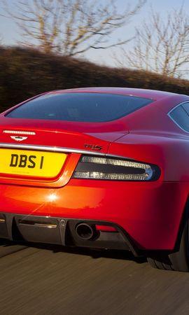 81332 скачать обои Спорт, Машины, Астон Мартин (Aston Martin), Тачки (Cars), Красный, Вид Сзади, Скорость, Dbs, 2011 - заставки и картинки бесплатно